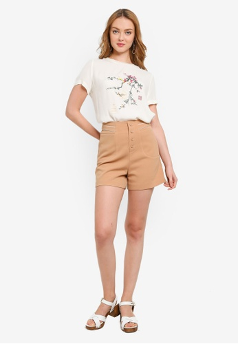 Hopeshow brown and beige Peony Graphic Print Round Neck T-Shirt 9DED9AA05124BBGS_1