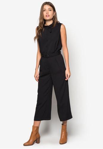 腰帶襯衫式連身長褲, 服飾,zalora 台灣門市 連身褲