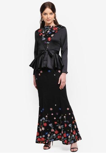 Zalia black Embroidered Lace Piece Peplum Top Set A9B8AAA9BE63C1GS_1