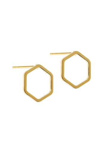 Elfi gold Elfi Stainless Steel Hollow Hexagon Ladies Stud Earrings (Gold) 6143CACF3EBB3FGS_1