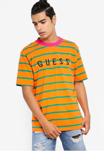 045127144 Guess yellow GUESS x J Balvin Oversized Striped Logo Tee CC5C0AACAEB5C5GS_1