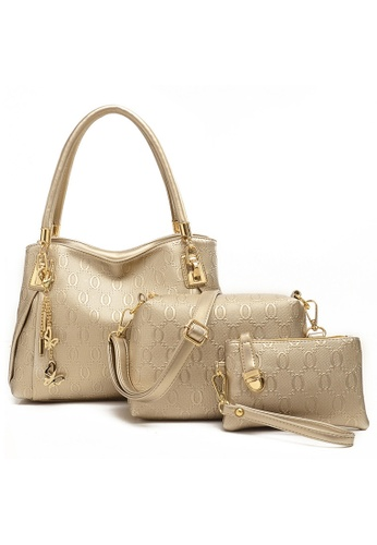 Jackbox gold and beige Set of 3 Elegant Leather Purse Sling Bag Handbag Tote Bag 901 (Gold) LO761AC11RZCMY_1