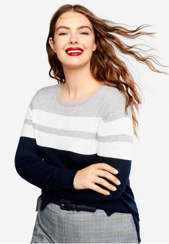 Violeta by MANGO blue and navy Plus Size Knit Striped Sweater 06723AA498BB28GS_1