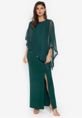 CIGNAL green Neoprene Gown w/ Sheer Top, Sequin Trim B011BAADEE97EEGS_1