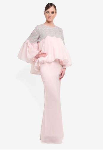 Kree for ZALORA grey and pink Rufina Babydoll Peplum Lace Kurung KR498AA0STGDMY_1