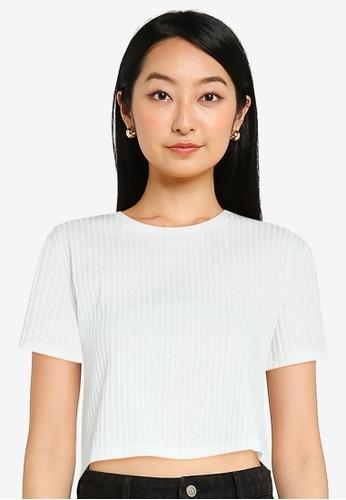 ZALORA BASICS white Boxy Crop Rib T-Shirt 8390CAA8F71508GS_1