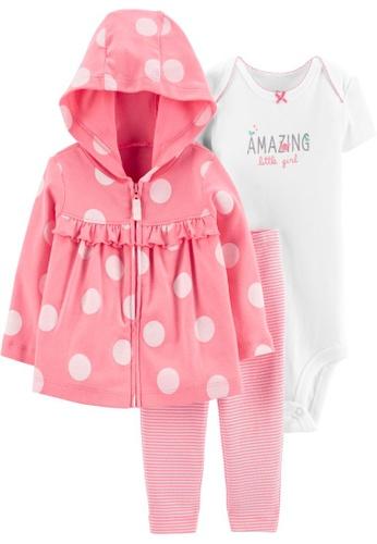 Carter's pink CARTER'S Girl Polka Cardigan Set C617CKA298EA6DGS_1