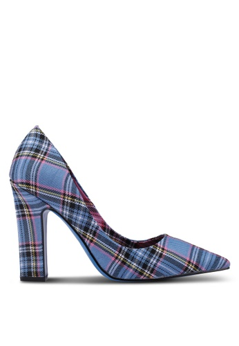 River Island blue Check Court Heels 47500SH805488DGS_1