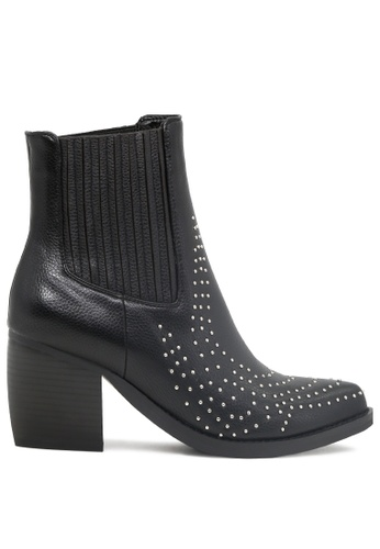 London Rag black Studded Ankle Boots with Stack Heel SH1787 45624SHEA37CE0GS_1