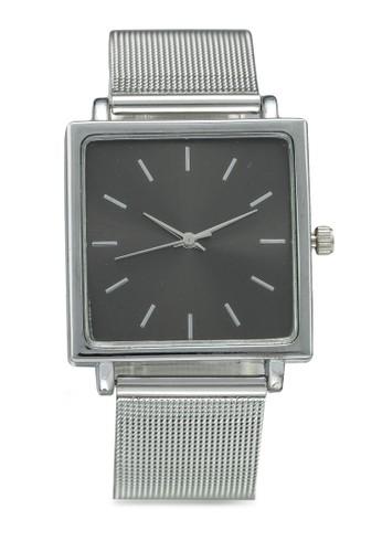 NUVEAU silver Square Face Black/Mesh Strap Watch 5DBD9ACE55D692GS_1