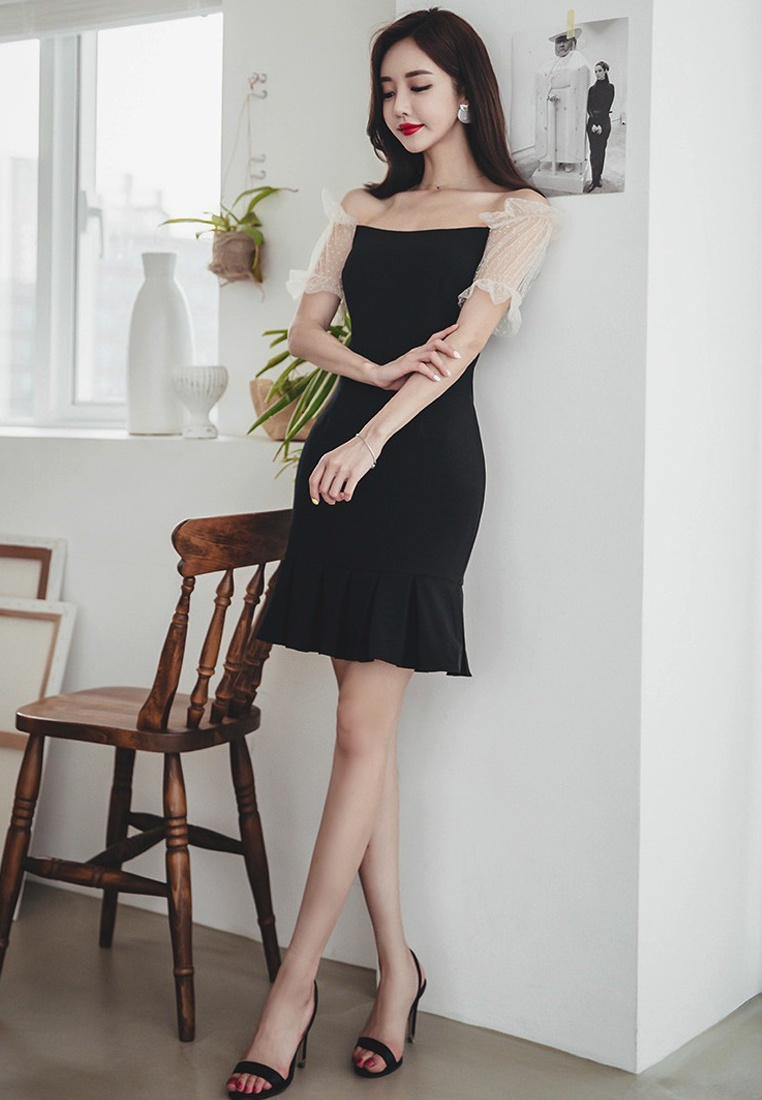 A060429 Dress New Shoulder Off One Black Sunnydaysweety Black Fishtail 2018 Piece PH8qCwH