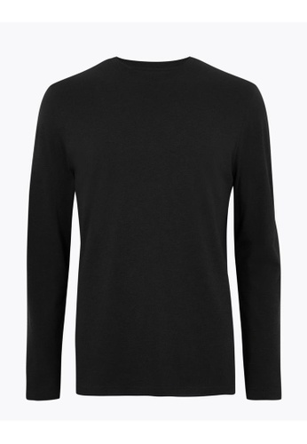 MARKS & SPENCER black M&S Pure Cotton Long Sleeve T-Shirt 4E422AAE59D9EDGS_1