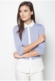Shirt And Tee Hybrid Long Sleeved Top