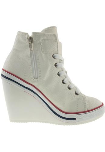 Maxstar Maxstar Women's 777 One Buckle Strap PU High Wedge Heel Sneakers US Women Size MA168SH30BLTHK_1