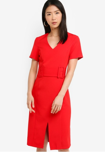 ZALORA BASICS red Basic Pencil Dress With Double Buckle A97BCAA0231106GS_1
