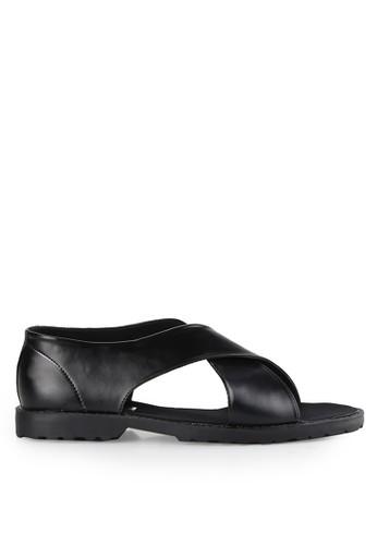 Dr. Kevin black Slip Ons & Espadrilles Sandals 1646 Hitam Leather DR982SH0UO2JID_1