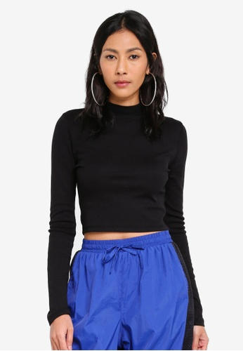 Factorie black Long Sleeve Funnel Neck Cropped Top E9F9CAA40ADD5EGS_1
