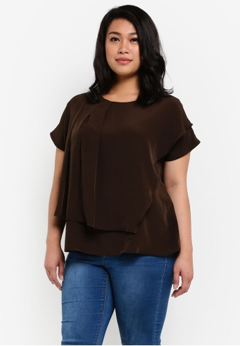 Ex'otico brown Plus Size Short Sleeve Overlap Blouse EX373AA0RUVNMY_1