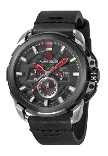 Alain Delon black Alain Delon Men AD415-1332C Black Leather Watch 35C06AC1F7F4A1GS_1