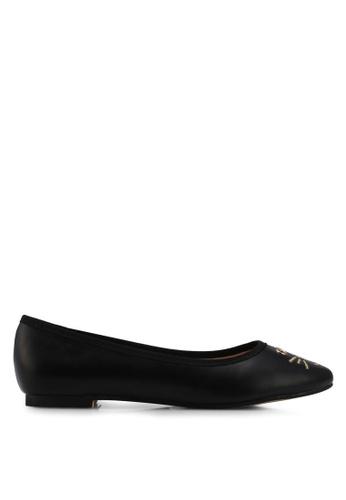 Velvet black Mouse Detail Ballerina 86E3ESHE6734BAGS_1