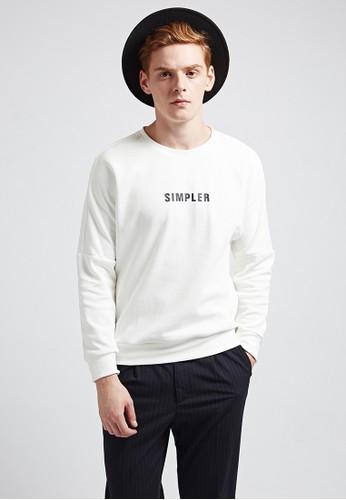 韓系休閒。落肩印花。esprit outlet hong kong純棉大絨T-07364-白色, 服飾, 長袖T恤