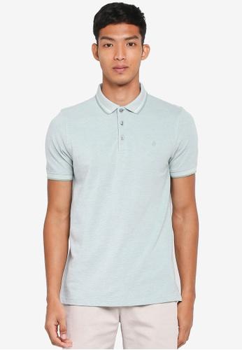 Burton Menswear London green Green Two-Tone Pique Polo Shirt 4B9E8AA21873E6GS_1
