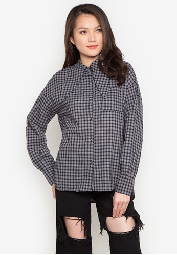 Spring Fling black Checked Top with Tie SP673AA0JTT9PH_1