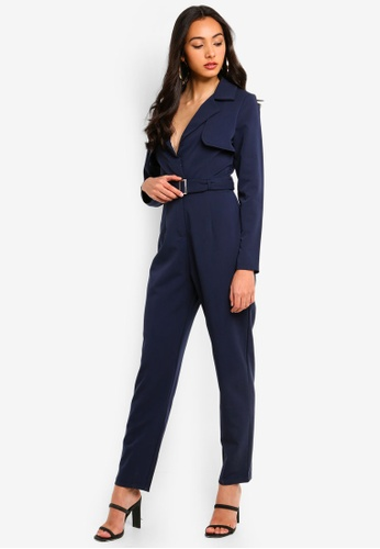 MISSGUIDED navy Belted Utility Jumpsuit 5C7D5AAAAEC354GS_1