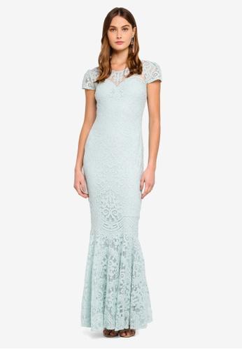 Goddiva blue Cap Sleeves Lace Maxi Dress FC767AA72AE3F4GS_1