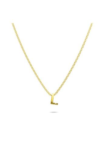 Bullion Gold gold BULLION GOLD Initials Brick Alphabet Letter Necklace Gold Layered Steel Jewellery  - L 85D27AC7EA802BGS_1