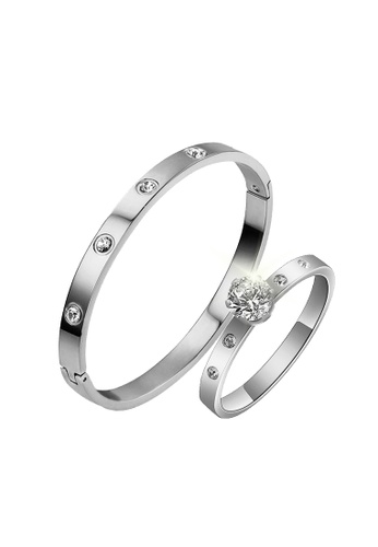 CELOVIS silver CELOVIS - Wanderlust Bangle Paired with Arwen Ring Jewellery Set in Silver 1C3C6AC3BE9526GS_1