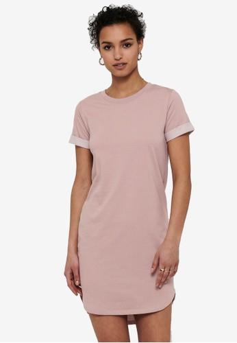 JACQUELINE DE YONG pink Ivy Life Short Sleeve Dress B8D5FAA7050049GS_1