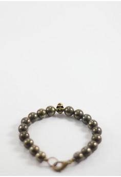 Midas Pyrite and Skull Bead Bracelet
