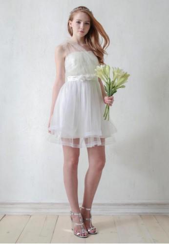 派對單肩綁帶平口花朵esprit 京站膨紗短禮服, 服飾, 短洋裝