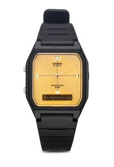 【ZALORA】 AW-48HE-9A 黑色 雙顯橡膠男錶