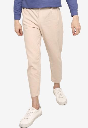 ZALORA BASICS beige Buckle Waist Linen Trousers 8D00AAA5D74858GS_1