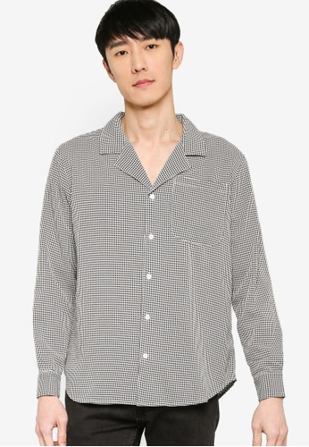 ZALORA BASICS multi Gingham Seersucker Camp Collar Shirt EAEC5AAE059AB5GS_1
