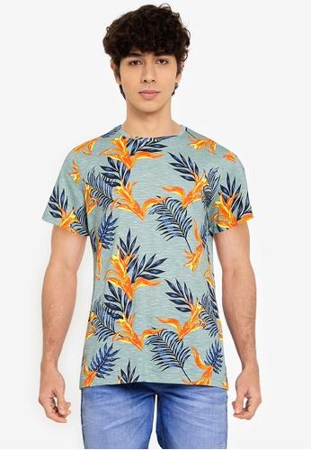 BLEND blue and multi Leaf Print Crew Neck T-Shirt 9F22BAA575D132GS_1