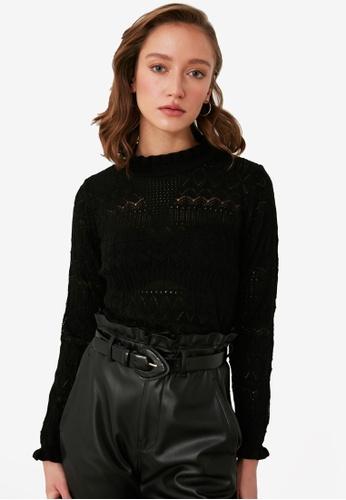 Trendyol black High Neck Openwork Knit Top 75125AA4873039GS_1