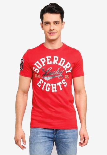 Superdry 紅色 短袖印花T恤 E6D20AA5B7A8DCGS_1