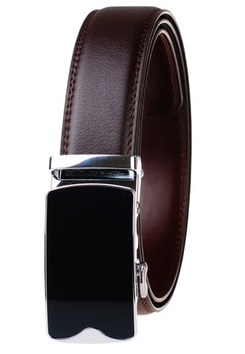 FANYU brown Leather Dress Belt With Automatic Buckle belt 00046ACF475817GS_1