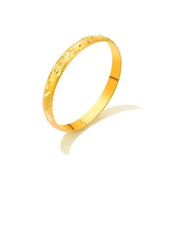 Glamorousky silver Simple Fashion Plated Gold Geometric Pattern Round Bangle FD05AAC3732637GS_1