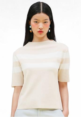 韓時尚條紋高領短袖zalora時尚購物網評價上衣, 服飾, 印花時代
