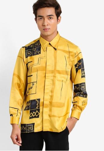 Gene Martino yellow Long Sleeve Batik Shirt GE222AA92HDBMY_1