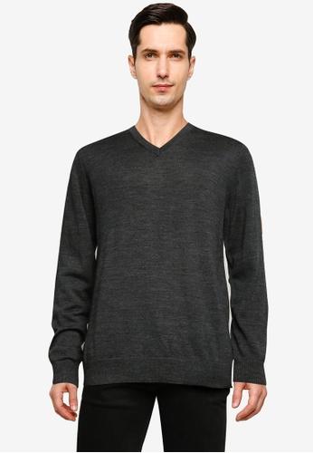 GAP 灰色 Merino Vee Sweater 44026AAB2F38B1GS_1