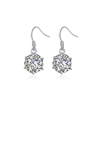Glamorousky silver Simple and Fashion Geometric Round Cubic Zircon Earrings D06A3ACF6AA326GS_1