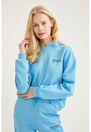 DeFacto blue Long Sleeve Cotton Hoodie 1F906AA1460BE3GS_1