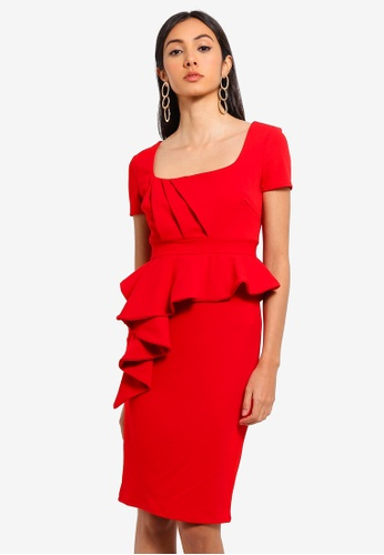Goddiva red Peplum Midi Dress 8BF63AA741D3DBGS_1