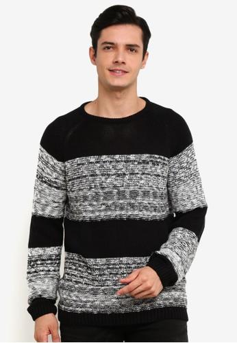 !Solid black Raoul Melange Block Knit Sweater 2437EAA31C9FC1GS_1