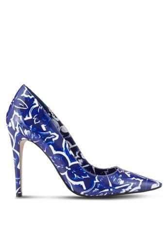 Dune London blue Tile Print Court Heels DU588SH18UGJMY_1